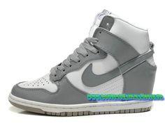 Nike Wmns Dunk Sky Hi GS Chaussures Nike Pas Cher Pour Femme Blanc/gris 528899-005
