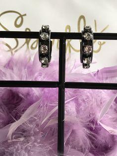 Swarovski Crystal Hoop Earrings set in Hematite Setting