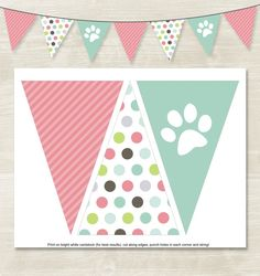 Flag Banner // Instant Download // Puppy Birthday Banner //