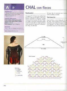 Crochet Shawl with Tassel - Chart ❥ 4U // hf