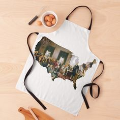 """""""USA MAP The Signing of the Constitution of the United States"""" Apron by podartist   Redbubble Custom Aprons, Apron Designs, Constitution, Sell Your Art, Print Design, United States, Map, Personalized Aprons, Bill Of Rights"""