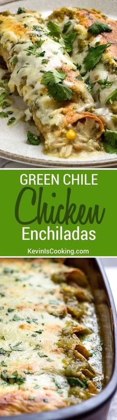 These Green Chile Chicken Enchiladas use shredded rotisserie chicken, white beans, corn and plenty of Pepper Jack cheese then are smothered in a green salsa verde. Super easy to put together and are g (Rotisserie Chicken Chili) Mexican Dishes, Mexican Food Recipes, Dinner Recipes, Green Chili Recipes, Mexican Desserts, Drink Recipes, Salsa Verde, Pork Verde, Cooking Ingredients
