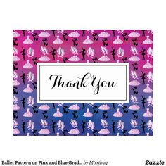 Ballet Pattern on Pink and Blue Gradient Postcard