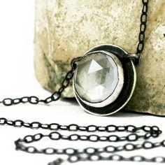 Clear Quartz Necklace, Faceted Clear Quartz, Rose Cut Clear Quartz Necklace https://etsy.me/2IvshsT #jewelry #necklace #quartz #pendant #stone #popowich #baltimoreetsyteam #shopbaltimore10 #rosecut
