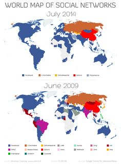 World map of social networks evolution by country