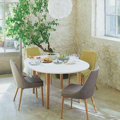 Table ronde de salle à manger en bois Lola, plateau blanc   Table ...