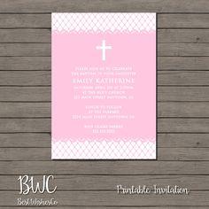 Girl Baptism Invitation Christening Invite Pink Dots Invite Elegant Baptism Invitation Printable Invitation First Communion Digital File by BestWishesCo on Etsy