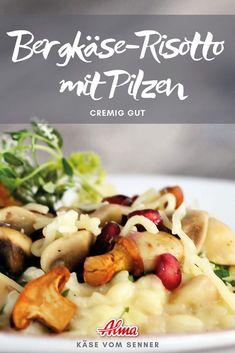 Bergkäse-Risotto mit Pilzen cremig gut und tut gut in der kalten Jahreszeit. Hier das Risotto-Rezept zum Nachkochen >> Pasta Salad, Meat, Healthy, Ethnic Recipes, Food, Risotto Recipes, Mushroom Risotto, Mushrooms, Crab Pasta Salad