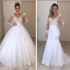 Detachable wedding dress 2020 deep v neck long sleeve lace appliques mermaid bridal dreses ball gown evening dresses bridal gowns - Hochzeitskleid Puffy Wedding Dresses, Cheap Bridal Dresses, Wedding Dress Trends, Princess Wedding Dresses, Cheap Wedding Dress, Bridal Gowns, After Wedding Dress, Wedding Dresses Detachable Skirt, Wedding Dress Removable Skirt