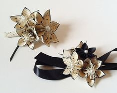 Origami Paper Flower Wrist Wrapped Corsage by DanasPaperFlowers