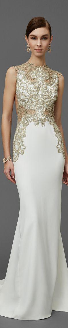 Marchesa Pre Fall 2016 white maxi dress women fashion outfit clothing style apparel @roressclothes closet ideas