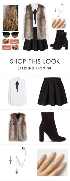 """Lady in Fur"" by teodoramaria98 ❤ liked on Polyvore featuring MANGO, Vero Moda, Chicwish, Gianvito Rossi and Ray-Ban"