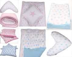 StarLove - Dream Whit Me our new collection.  Organic kids bedding, blue, pink. grey. Manostiles