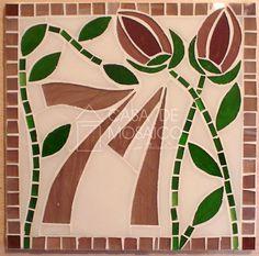 Número de mosaico com tulipas