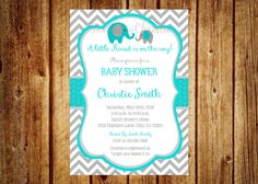 Teal and Gray Elephant Baby Shower Invitation- Digital File- DIY Printable - It's a Boy, Elephant, Chevron, Teal Baby Shower by InvitesByChristie on Etsy