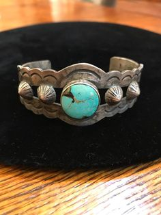 Fred Harvey sterling silver wide repousse Vintage Navajo Old Pawn cuff bracelet