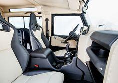Land Rover Defender Interior, Land Rover Defender 130, Defender 90, Automotive Upholstery, Car Upholstery, Car Speaker Box, Gumball 3000, Truck Mods, Cabin Design