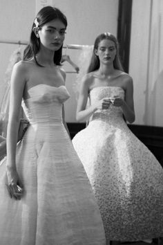 Antonina Vasylchenko and Esther Heesch backstage at Christian Dior Haute Couture F/W 2012