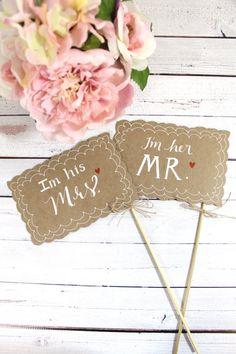 Mr. & Mrs. Photo Prop Signs  Rustic Wedding by ThePaperWalrus, $9.99