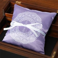 Lace in Lilac Personalized Ring Pillow. Your monogram is beautifully framed by a delicate lace ring. This personalized ring pillow becomes a treasured keepsake of a most special day. Intricate doily designs on the front and back guarantee a great view from any angle.  http://www.einvite.com/product/detail/PIL-RIN-G8ENS.html/?utm_source=Social&utm_medium=Pinterest&utm_campaign=lace