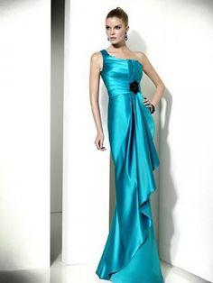 2012  Style Sheath / Column One Shoulder Ruffles  Sleeveless Floor-length Elastic Woven Satin Blue Prom Dress / Evening Dress (SZ0253023 )