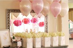 gift bags idea with attached balloons  With emerald/blue? Bottles of mini champagne and cake pop in bag?