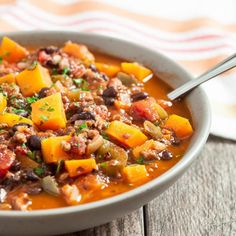Butternut Squash Chili. With or without turkey. One Pot easy, extremely delish. Healthy to boot.