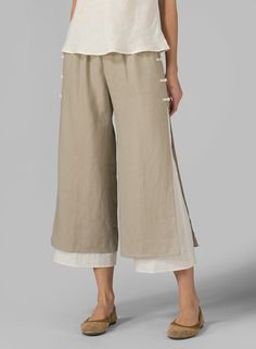 Linen Double-Layer Pants - Plus Size Miss Me Outfits, Casual Outfits, Fashion Pants, Hijab Fashion, Pantalon Large, Plus Clothing, Pants For Women, Clothes For Women, Women Shorts