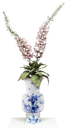 Handmade Porcelain Foxglove by Vladimir Kanevsky - Meissen artCAMPUS Limited Edition [Flowers are made of porcelain, leaves and stems are made of painted copper]