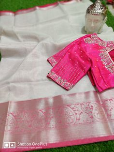 Buy white color tissue sarees with designer stitched blouse Wedding Saree Blouse Designs, Pattu Saree Blouse Designs, Blouse Designs Silk, Designer Blouse Patterns, Mirror Work Saree Blouse, Mirror Work Blouse Design, Simple Blouse Designs, Stylish Blouse Design, Simple Designs