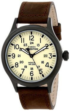 "Amazon.com: Timex Men's T49963 ""Expedition Scout"" Watch with Brown Leather Band: Timex: Watches"