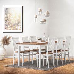 Kaipaako keittiösi klassisen kaunista ruokaryhmää? ✨ Pohjanmaan Kartano on perinteikäs, ja samalla ihanan siro yhdistelmä ruokailutilaan. Tammikansi tuo lämpoä sisustukseen ja valkoinen runko pöydässä ja tuoleissa säilyttää kokonaisuuden raikkaana. Saatavana useita väri- ja kokovaihtoehtoja, tutustu lisää Masku-myymälässä! 📷: Masku Table And Chairs, Dining Table, Chair Design, Furniture, Home Decor, Decoration Home, Room Decor, Dinner Table, Home Furnishings
