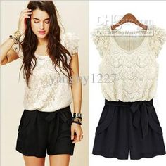 Wholesale Ladies Casual - Buy NEW Style Best Selling Ladies Jumpsuits Girl Casual Lace Jumpsuit Suit Short Black White S/M/L/XL, $24.88 | DHgate
