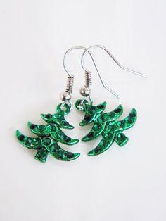 Green Christmas Tree Earrings with rhinestones New by kskalozubova,
