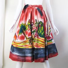 1950s Hand Painted Skirt S/M now featured on Fab.- $191.75