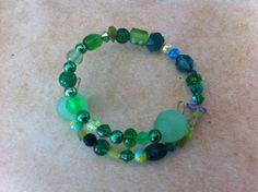 Green Beaded Memory Wire Bracelet by OtherItemsFor11Q on Etsy, $8.75