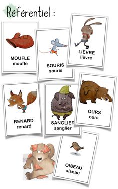 French flashcards. La moufle - référentiel