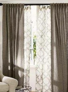 If you have 2 tones in your space, for example an accent color and a neutral color, use these 2 tones to layer the window treatments for a cohesive look.