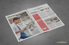 Popular tabloid size (11.5 x 17.6 inches) | 9 Newspaper PSD Advertisement Mockups by ZippyPixels #mockups #newspaper #psd #template #advertising #advertisment #ads #photoshop #photorealistic #presentation #customizable