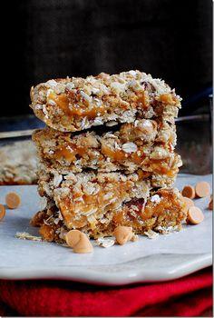 butterscotch bars- 1c brown sugar 5T butter 3/4c sweetened condensed milk 1 1/4c butterscotch chips w/ oats