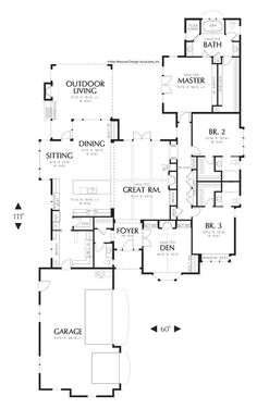 long and skinny plan....but good for backyard placement, courtyard....Main Floor Plan of Mascord Plan 1234 - The Alberg