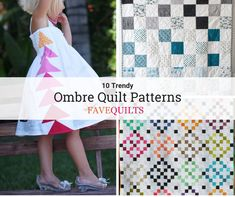 Liven up your home, from the nursery to the bedroom, with these brilliant, vibrant, and free ombre quilt patterns! Check them out here: Baby Quilt Tutorials, Baby Quilt Patterns, Modern Quilt Patterns, Geometric Quilt, Geometric Designs, Diy Baby Quilting, Quilting Ideas, Quilt Blocks, Star Blocks
