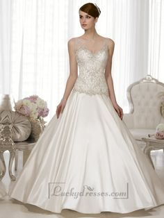 Straps V-neck A-line Hand Beaded Bodice Vintage Wedding Dresses Sale On LuckyDresses.com With Top Quality And Discount