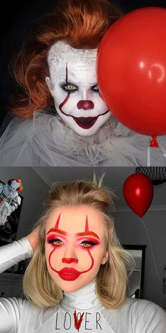 Just check the best Halloween makeup looks that we've collected, to choose the scary face makeup you will love to wear for the creepy Halloween night! Halloween Makeup Clown, Amazing Halloween Makeup, Trendy Halloween, Clown Makeup, Halloween Makeup Looks, Halloween Kostüm, Face Makeup, Halloween Tutorial, Halloween Costumes