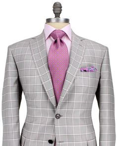 Brioni Taupe and Salmon Glen Plaid Sportcoat