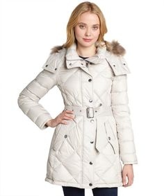 Burberry light trench quilted down filled fur trim coat