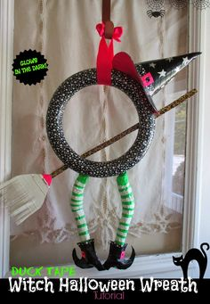 One Savvy Mom™   NYC Area Mom Blog : Duck Tape Witch Halloween Wreath Tutorial - It Glows In The Dark!
