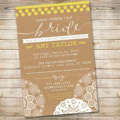 Printable Bridal Shower Invitation // Shabby Chic Country Wedding