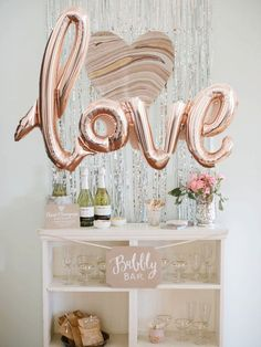 "Elegant bridal shower decor idea - Bubbly bar with rose gold ""LOVE"" balloon and sparkle backdrop {Courtesy of Etsy} Rose Gold Balloons, Mylar Balloons, Gold Wedding Decorations, Bridal Shower Decorations, Decoration Party, Bridal Shower Ballons, Bridal Room Decor, Decor Wedding, Wedding Themes"