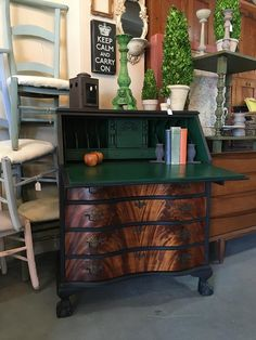 Vintage mahogany secretariat painted with Graphite Chalk Paint® by Annie Sloan, and sealed with Black Chalk Paint® Wax! The drawer fronts were stripped bare, and sealed with Dark Chalk Paint® Wax. She's all Amsterdam Green Chalk Paint® on the inside, including her drawers. Beautiful project by Saint George, Utah Stockist Jen's Furniture Rehab